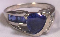 Sapphire Lady's Stone & Diamond Ring 5 Diamonds 0.05 Carat T.W. 10K Wh PERFECT STATEMENT RING
