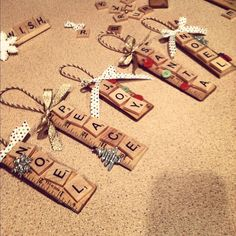 Christmas DIY: Scrabble ornaments : Scrabble ornaments :) fun & easy to make! Teacher Christmas Gifts, Christmas Ornaments To Make, Christmas Projects, Christmas Fun, Holiday Crafts, Teacher Gifts, Letter Ornaments, Ornaments Ideas, Ornaments For Teachers