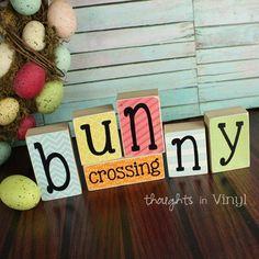 Bunny Crossing | wooden blocks | Easter craft