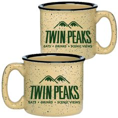 Enjoy a cup a taste of the outdoors with your new Campfire Twin Peaks Ceramic Mug. Logo printed on both sides of cup