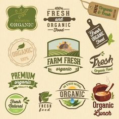 Organic food logos and labels vector 03