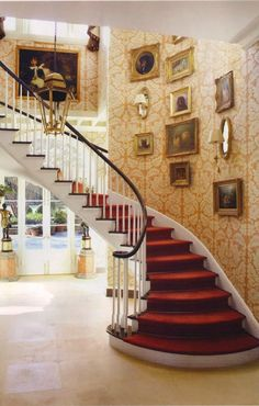 Traditional Staircase/Hallway by Richard Keith Langham, Inc. and Lewis Graeber III & Associates in Hattiesburg, Mississippi ~Grand Mansions, Castles & Luxury Homes Clarence House, Grand Staircase, House Design, Entrance, Traditional Staircase, Entrance Hall, Staircase, Architectural Digest, Stairways