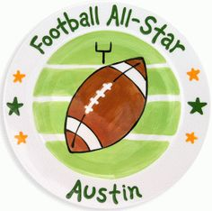 Football All Star Plate - Everything tastes better on a Script and Scribble personalized ceramic plate.