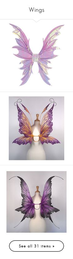 """""""Wings"""" by mysherm6775 ❤ liked on Polyvore featuring wings, filler, fairies, accessories, animals, costumes, backgrounds, deluxe adult halloween costumes, adult fairy costume and deluxe costumes"""