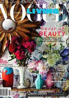 Designers Guild Viola fabric as seen on the front over of Vogue Living, Australia 2015.