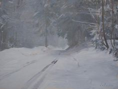 """""""Road in the Snow"""" by Marc Dalessio Oil, 11 x 14 inches"""