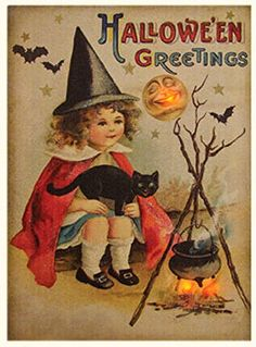 New Vintage Fall HALLOWEEN GREETINGS Witch Girl Jack O Lantern Lighted Picture #Country
