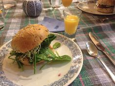Fabulous legume burgers - Fathers Day dinner - made by No.2 daughter - with freshly squeezed juice from our orange tree. Very very yummy!