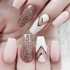 Rose Gold Sparkles - These NYE Nail Ideas Will Have You Shining Like the Crazy Diamond You Are - Photos