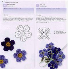 100 flowers to knit & crochet by Irini Fotiadi - issuu Crochet Diy, Crochet Motifs, Crochet Flower Patterns, Crochet Diagram, Crochet Chart, Thread Crochet, Irish Crochet, Crochet Stitches, Small Flowers