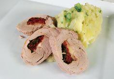 Stuffed Pork Fillet with Colcannon Pork Fillet, Mashed Potatoes, Meal Planning, Bacon, Stuffed Pork, Easy Meals, Tasty, Dinner, Ethnic Recipes