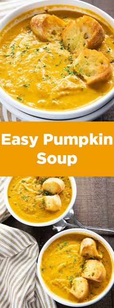 Easy Pumpkin Soup – This thick and creamy pumpkin soup is simple to make using canned pumpkin puree! Caramelized onion, cinnamon, nutmeg, and ginger give this fall favorite soup amazing warm flavor! - Easy Pumpkin Soup - The Salty Marshmallow Pumpkin Puree Recipes, Pureed Food Recipes, Easy Soup Recipes, Fall Recipes, Vegetarian Recipes, Cooking Recipes, Healthy Recipes, Pumpkin Dinner Recipes, Puree Soup Recipes