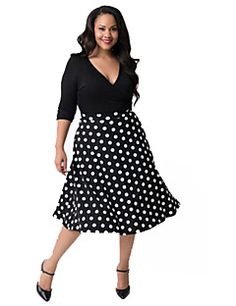Women's Casual Polka Dot / Solid Swing Dress , V Neck Knee-length Polyester
