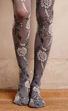 Textured Floral Tights - I would probably never ware them, but they look cute! Floral Tights, Patterned Tights, Cute Tights, Funky Tights, Sparkly Tights, Green Tights, Tartan, Fashion Tights, In Pantyhose