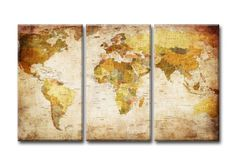 3 Pieces Multi Panel Modern Home Decor Framed Retro World Map Wall Canvas Art World Map Canvas, World Map Wall Art, Art Mural, Map Art, Clear World Map, World Map Template, Art Carte, Modern Prints, Oil Painting On Canvas