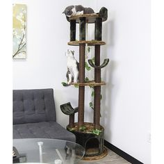 "This cat tower is an entire ""Kingdom"" in a single unit that your cat will never tire playing on. Small Cat Tree, Cat Window Perch, Cat Climbing Tree, Huge Cat, Cat Tree Condo, Tree Furniture, Cat Towers, Pet Steps, Cat Scratching Post"