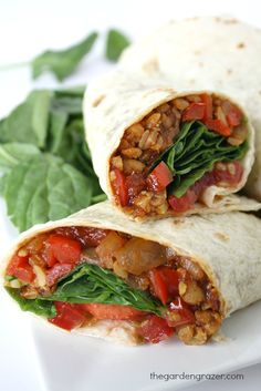 Simple and quick! Protein powerhouse tempeh is marinated in BBQ sauce to create a delicious, filling wrap (vegan)
