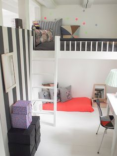 Small, simple and so nice, girl room.  Self made bunk bed. Black&white with neon and gray accessories.