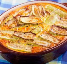 Features feta and cottage cheeses in this personalized vegetarian casserole with eggplant and tomatoes.