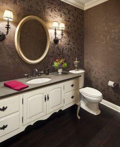 Eclectic Bathroom With Artistic Floral Print Wallpaper Antique White Bathroom Vanity Gold Framed Mirror Colorful Flower bathroom - lines Room Design, Home Staging, Bath Furniture, Bathroom Wallpaper, Eclectic Bathroom, Powder Room Design, Powder Room Wallpaper, Bathroom Design, Bathroom Decor