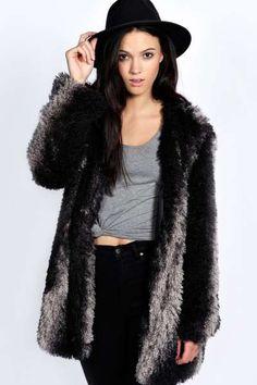 Malin Two Tone Mongolian Faux Fur Coat