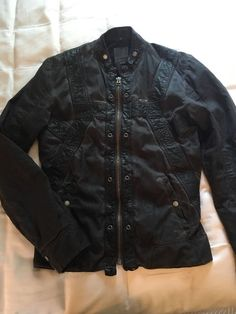 Diesel Mens Black Fitted Leather/ Cotton Moto Jacket Size 4 S/M
