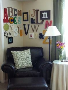 fun alphabet wall Thompson - what a sweet little reading nook this would make. Abc Wall, Alphabet Wall Art, Letter Wall, Alphabet Nursery, Baby Boy Rooms, Baby Room, Kids Rooms, Classroom Decor, Classroom Setting