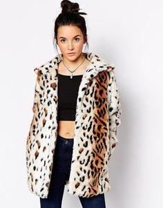 Motel Fudge Faux Fur Coat in Leopard