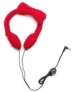 Crocheted Bow Headphones $40.00 at http://www.uncommongoods.com/product/crocheted-bow-headphones