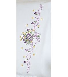 Dimensions Violets Nosegay Pillowcase Pair Stamped Embroidery Kit