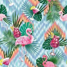 Cocktails and Flamingos by NewSea Design Seamless Repeat Royalty-Free Stock Pattern - Patternbank #illustrationart #illustrationbest #pattern #patterndesign #patterndesigners #repeatpattern #illustration Pattern Bank, Pattern Design, Repeating Patterns, Textile Prints, Surface Pattern, Under The Sea, Print Patterns, Plant Leaves, Royalty