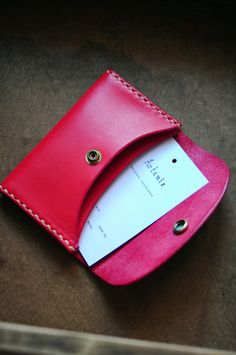 Hand Stitched Red Leather Card Holder