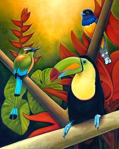 Tropical Birds - Costa Rican Art by Nathan Miller: