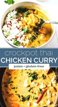 paleo recipes SAVE FOR LATER! Crock Pot Thai Chicken Curry is one of the easiest meals to make and is so tasty. Curry paste, coconut milk, and ginger add a ton of flavor to this healthy, low-cal, and paleo + gluten-free dinner. Your family will LOVE it! Crock Pot Recipes, Slow Cooker Recipes, Cooking Recipes, Healthy Recipes, Paleo Crockpot Recipes, Healthy Crock Pot Meals, Crock Pot Healthy, Healthy Thai Food, Crock Pot Slow Cooker