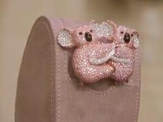 Tinto pink diamond broach fashioned as koalas on display in London.