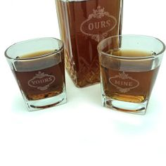 His and Hers Decanter and Whiskey Glass Set Gift by TealsPrairie, $43.19