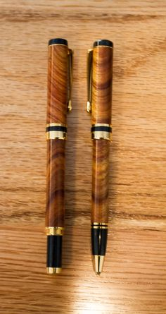 Canary Wood  Pen and Pencil set by CarolinaMoulding on Etsy