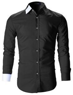 4d513f15877 Mens Designer Slim Fit Color Block Dress Shirts (SH115)