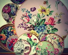 Vintage fabric in hoops for walls