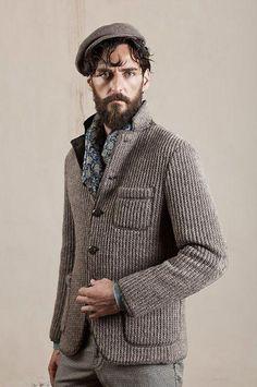 punkmonsieur: Knit blazer - Purl on Pearl. Knit Blazer, Knit Jacket, Knit Cardigan, Stylish Men, Men Casual, Bespoke Clothing, Men Street, Men Sweater, Modern