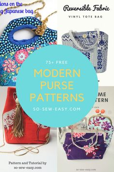Modern Purse Patterns for all sizes and tastes. Free and Easy projects Purse Patterns patterns Sewing Blogs, Sewing Tutorials, Sewing Crafts, Sewing Projects, Easy Projects, Bag Tutorials, Sewing Ideas, Purse Patterns Free, Mug Rug Patterns