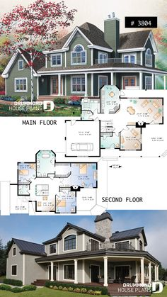 3 to 5 bedroom waterfront cottage house plan with wraparound porch, large master. - 3 to 5 bedroom waterfront cottage house plan with wraparound porch, large master suite, breakfast n - Sims 4 House Plans, Sims 4 House Building, Dream House Plans, Modern House Plans, House Floor Plans, Large House Plans, Cottage House Plans, Craftsman House Plans, Country House Plans