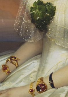 Gavriil Ivanovich Yakovlev (1819-1862) - Portrait of Julia Telyakovskaya (detail), 1848 Classic Paintings, Old Paintings, Beaux Arts, Art For Art Sake, Arte Digital, Fashion History, Portraits, Antique Jewelry, Detail Art