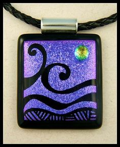 Original dichroic glass pendant *Engraved Abstract* SRA | silvermoonlyn ArtFire Gallery