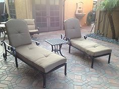 Nassau Outdoor Patio 3pc Chaise Lounges Set Dark Bronze Cast Aluminum Walnut >>> More info could be found at the image url.(This is an Amazon affiliate link and I receive a commission for the sales)