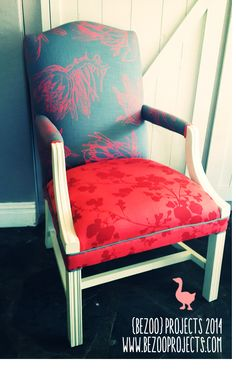 Vintage armchair: painted white with denim and coral upholstery. Vintage Armchair, Upholstery, Arts And Crafts, Coral, Denim, Furniture, Home Decor, Tapestries, Decoration Home