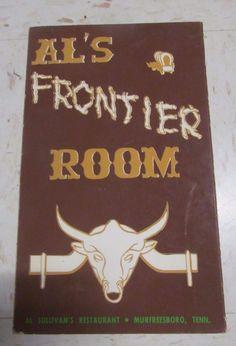 Autographed Al Sullivan Frontier Room Murfreesboro Vintage Restaurant Menu 1962 | eBay