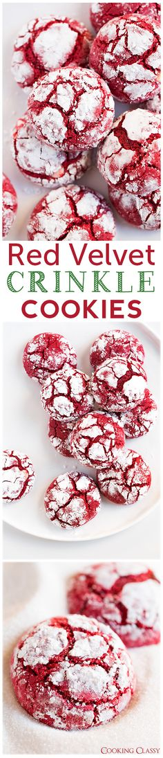 Red Velvet Crinkle Cookies (from scratch) - these cookies are DIVINE! Red Velvet Crinkle Cookies (from scratch) - these cookies are DIVINE! Cookie Desserts, Holiday Desserts, Holiday Baking, Holiday Treats, Holiday Recipes, Cookie Recipes, Baking Desserts, Baking Cookies, Cookie Tray