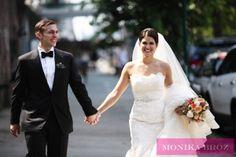 wedding photography by Monika Broz Gorgeous couple strolling in Williamsburg, Brooklyn. Wedding at MyMoon.