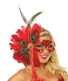 Red Spanish Peacock Feather Mask - Adult #zulily #zulilyfinds